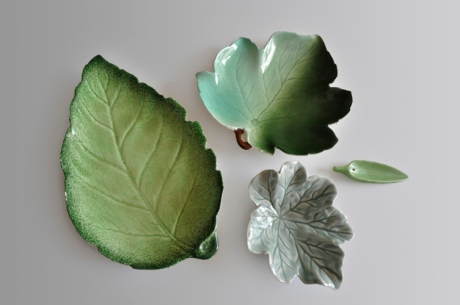 collection vintage green leaf plates dishes