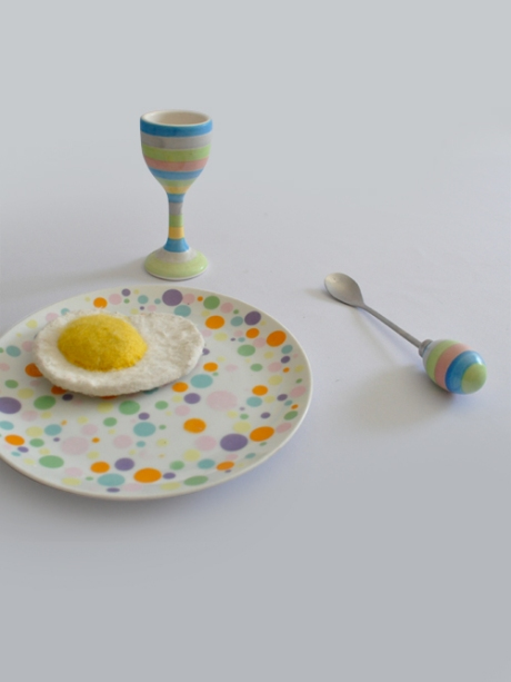 tall stripey pastel egg cup and spoon spotty plate vintage