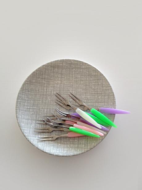 vintage pastel cocktail fork retro plate crown lynne