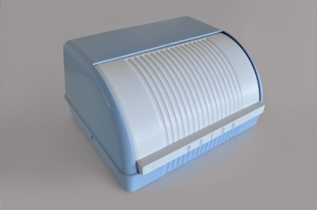urban rustic blue plastic retro bread bin closed