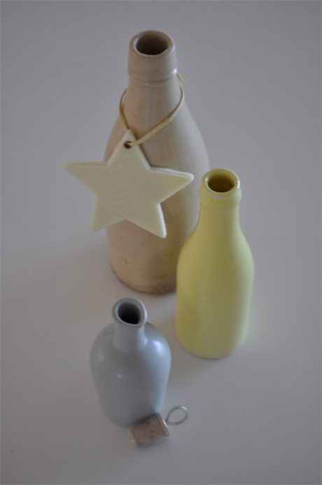 vintage clay porcelain bottles beige yellow grey