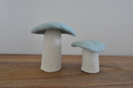 Blue and white felt mushrooms Mark Tuckey Home