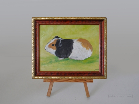 Framed Oil painting of a guinea pig