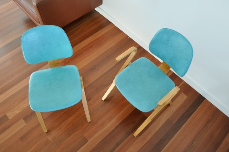 Thonet Mid Century Modern chairs turquoise