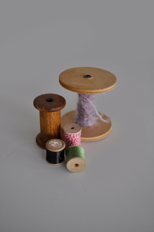 Vintage antique wooden cotton reels