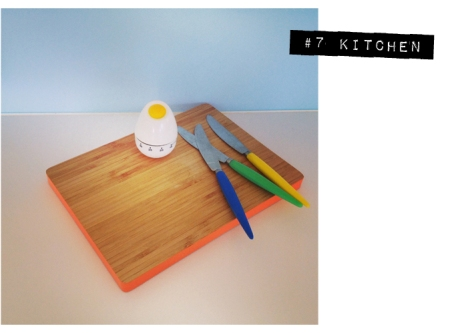 vintage retro colours knife bread board egg timer