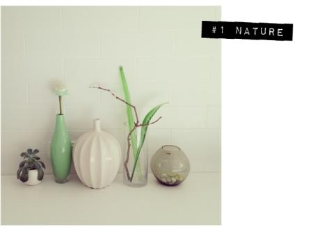 7 vignettes nature vintage vases plants