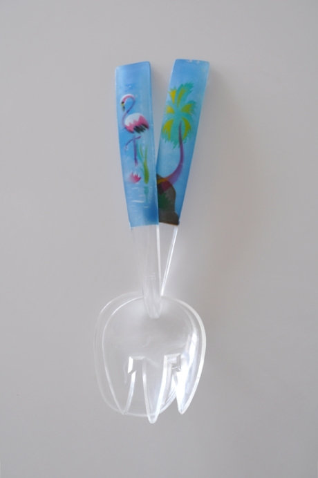 Flamingo vintage salad servers