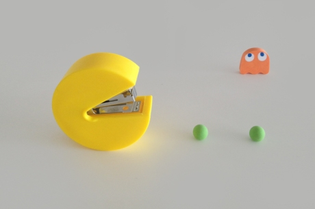 pac man old school stapler & erasers