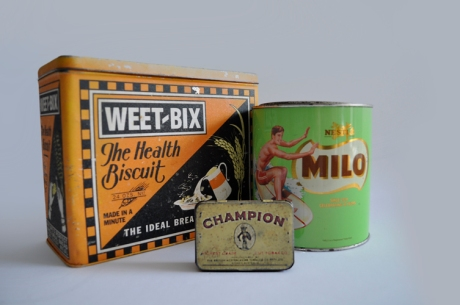 vintage weet-bix tobacco milo tins