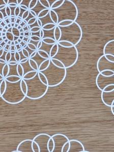 white vintage plastic lace coaster cu