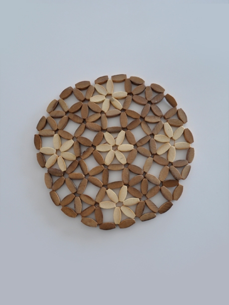 wooden retro flowers coaster