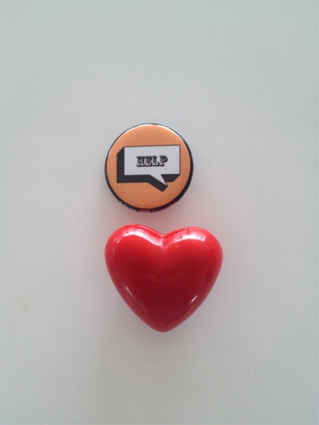 heart badge pins help