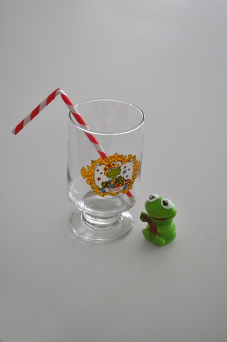 vintage kermit drink glass pencil toy