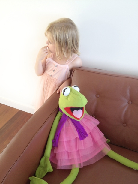 Lily and kermit in ballet dresses copy