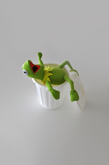 Mupppet kermit the frog in garbage bin rs
