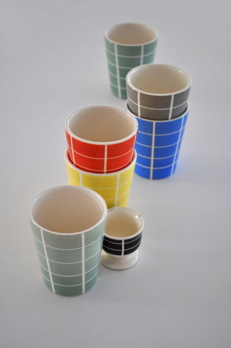 Waechtersbach west german check tumblers egg cup check