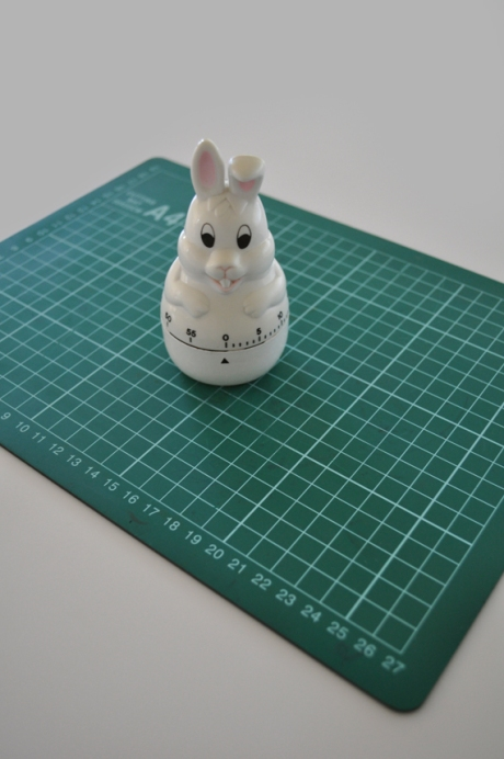vintage bunny rabbit kitchen timer on cutting mat copy