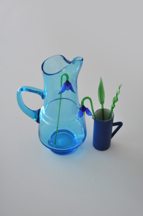 blue glass flowers irises jug still life