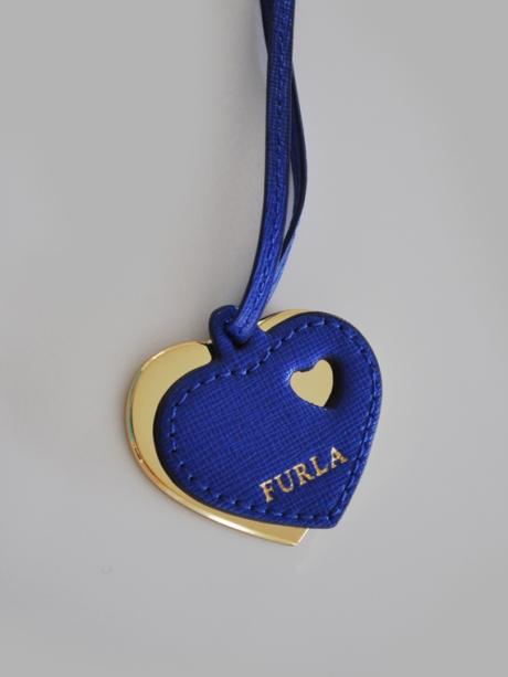 cobalt blue furla love heart bag tag italian