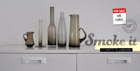 mid century smoked glassware