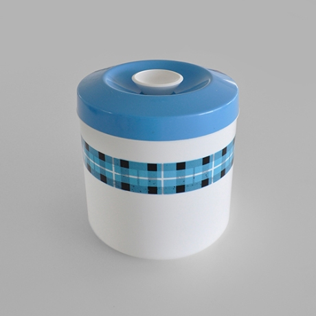 British Plastics blue tartan band canister sq