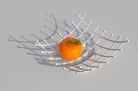 hand blown art glass mid-century orange