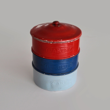 vintage red blue rustic cake containers