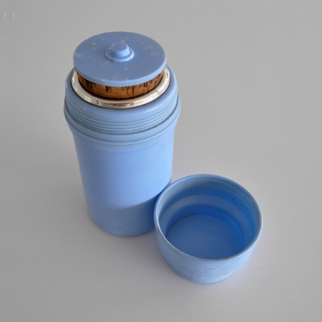 vintage blue bakelite Thermos sq