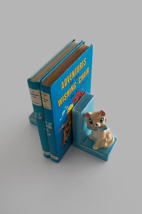 vintage blue china kitten bookends Enid Blyton Wishing Chair
