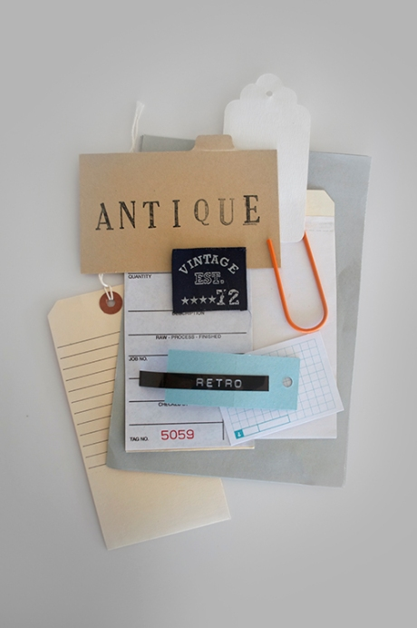 antiques vs retro vs vintage office card