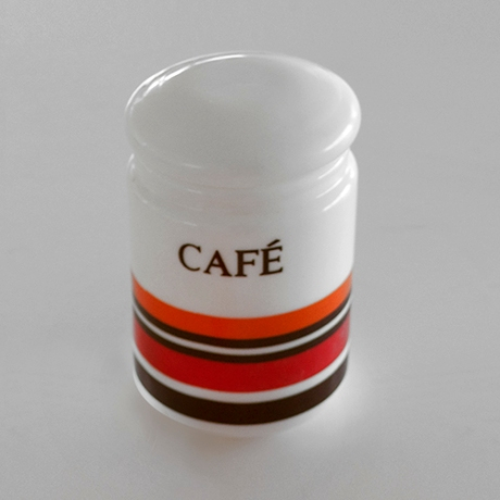 cafe orange milk glass retro canister