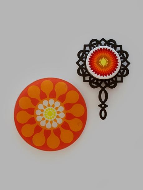 orange retro flower trivets 2