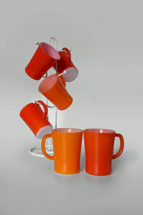 set 6 retro orange red pyrex corning mugs copy
