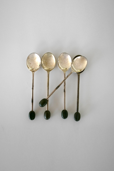 vintage silver coffee been spoons
