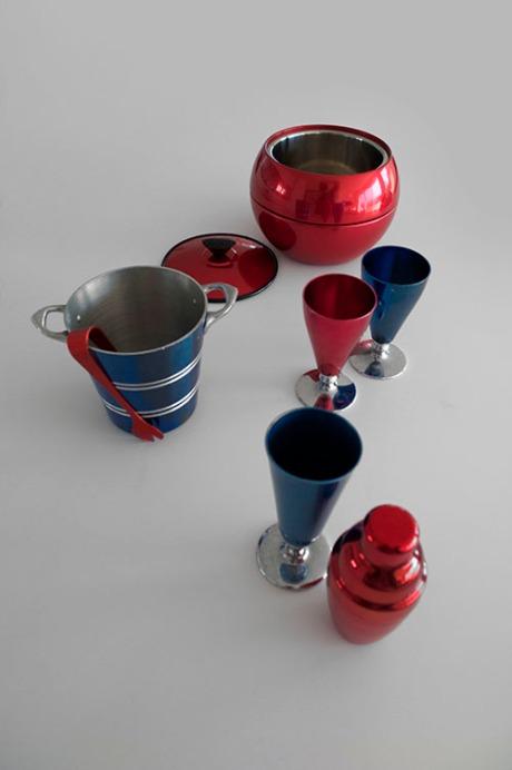 Mid-century retro anodised barware