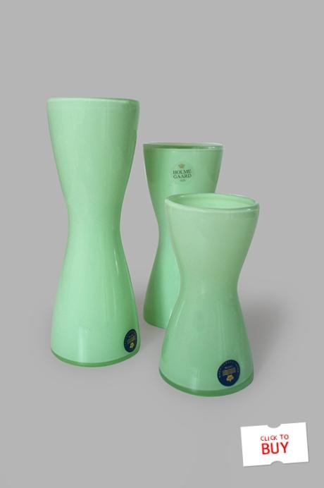 Holmegaard green glass candlestick vases mid century Royal Copenhagen buy