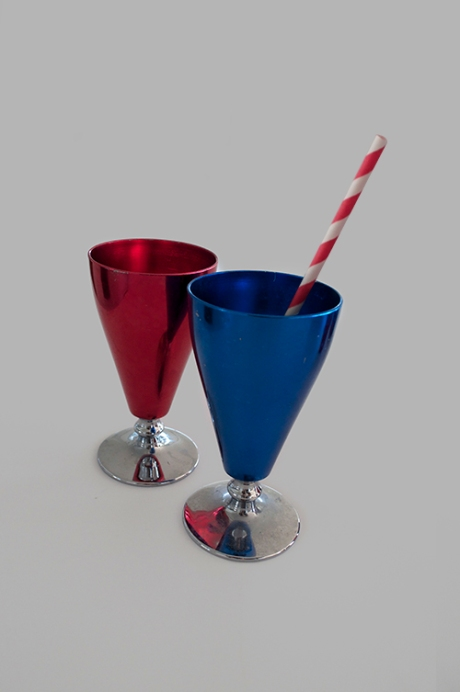 retro anodised red blue wine glasses goblets