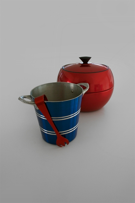 retro anodised red ice bucket blue wine cooler copy