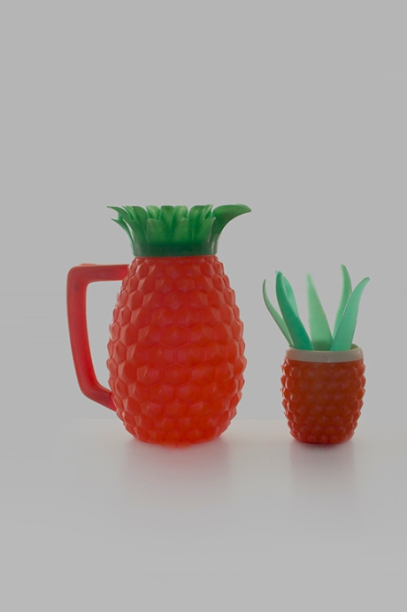 vintage Minerware pineapple jug and tupperware leaves corers