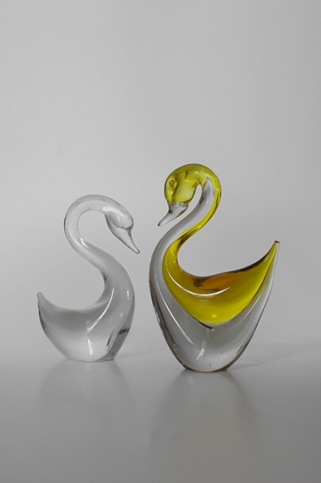 two art glass swan figures