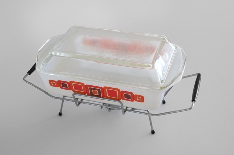 pyrex warmer orange retro shapes NEW