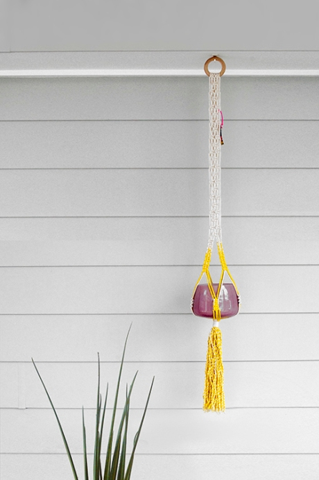 YELLOW Ouchflower macrame hanger plant