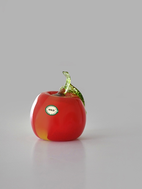 murano red glass apple sold fruit sticker