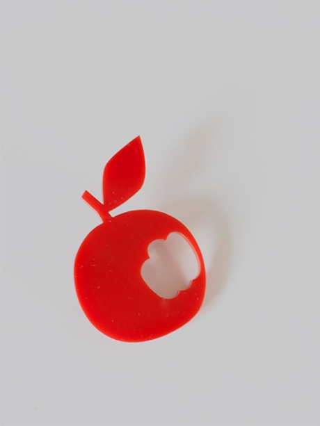 scoops red apple perspex brooch pin