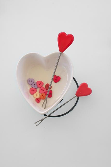 love heart shaped fondue