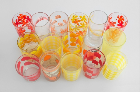 group vintage juice glass collection