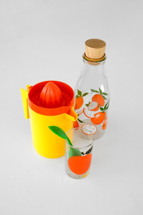 plastic juicer jug orange glass and bottle copy