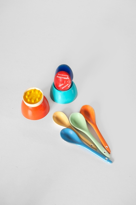 spoons and vintage egg cups timer toys turquoise orange copy