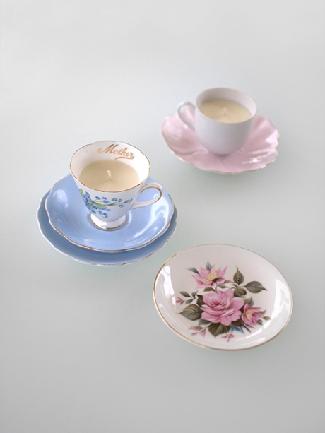 vintage pretty bone china tea cup candles